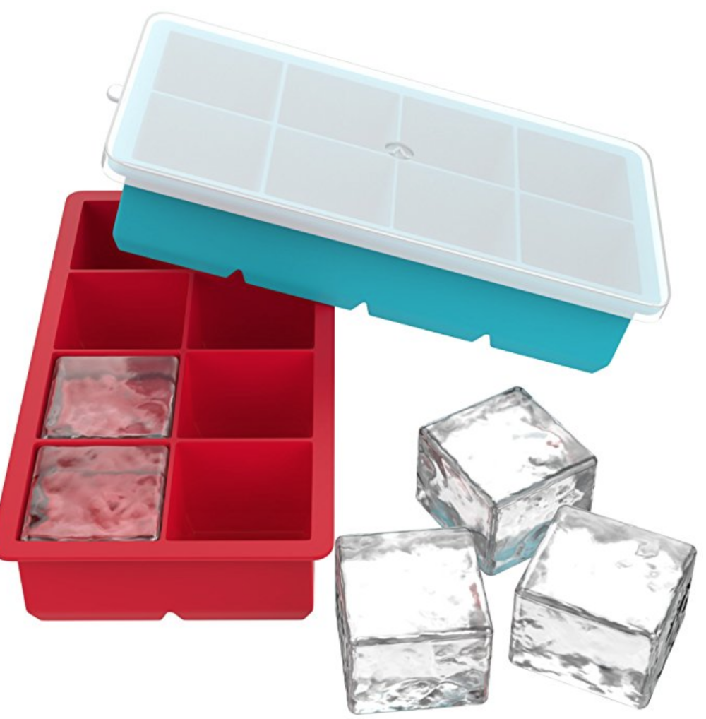 Copy of Vremi Large Ice Cube Trays for Whiskey - 2 Pack Silicone Tray Set with BPA Free Plastic Lids for 16 Square Cubes Flexible Stackable Easy Release Freezer Molds for Soap Making or Dog Treats - Red Blue