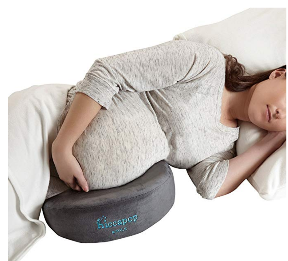4. belly pillow - This is a cool pillow because it has multiple functions and is easy to travel with. It will help reduce swelling in hands, feet and back, allow you to sleep on your side and/or can be used as a backrest in chairs.