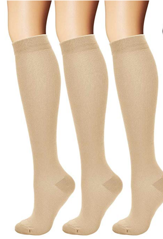 6. compression socks - Okay. Maybe not the most fashion forward look - but these will help prevent varicose veins, increase blood flow and reduce swelling in the legs, ankles and feet; all of which are common symptoms during pregnancy.