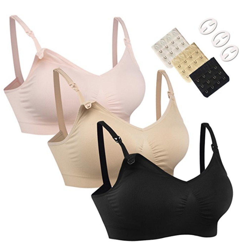 19. nursing bras - Comfortable and practical clothes will probably be what she wants most while being home with the baby. These bras will give support while conveniently allowing her to feed the baby throughout the day.