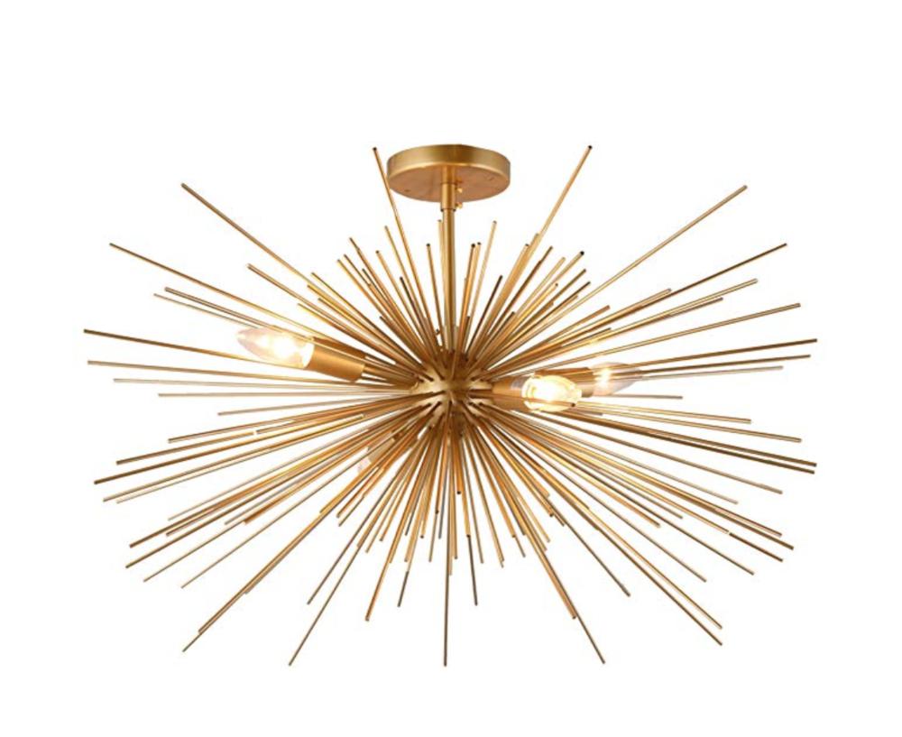 Gold Spike Starburst Light Mid Century