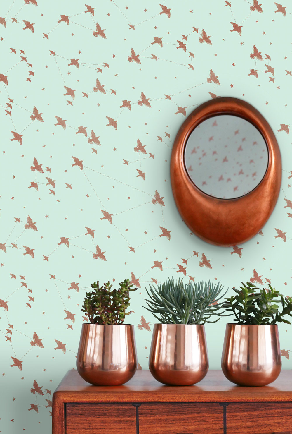 Star-ling Wallpaper - Pale Verdigris & Copper