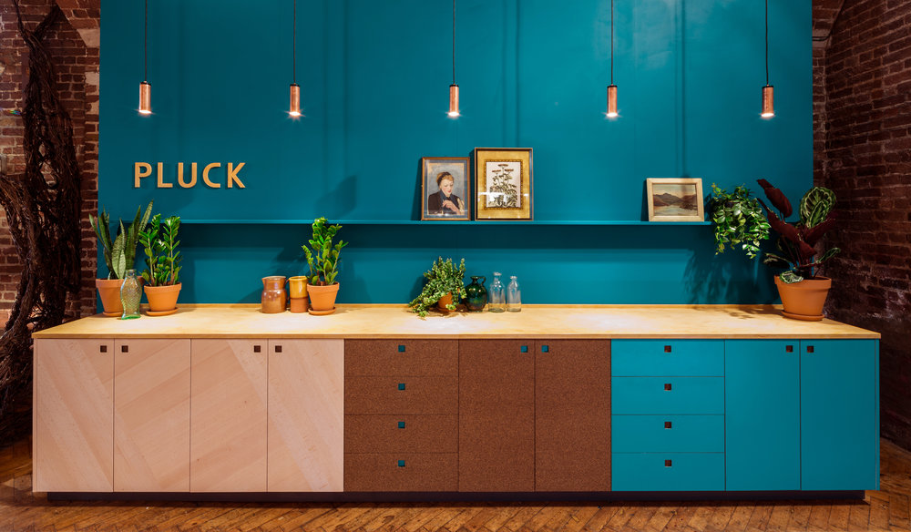 Above: Pluck Kitchens at CDW17, including new cork cabinetry