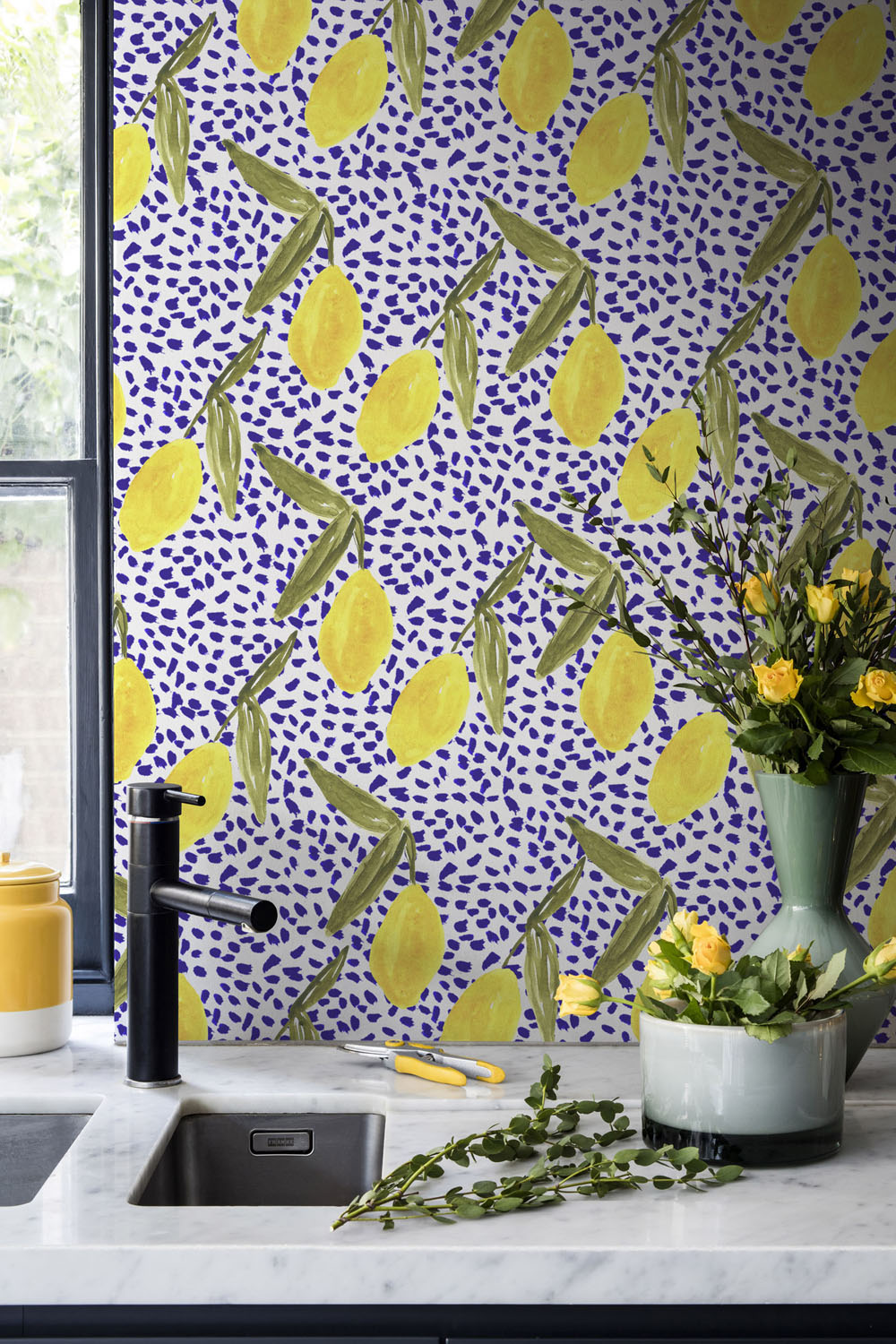 Lemon and Dots Mural by Kendra Dandy from Bouffants and Broken Hearts Collection