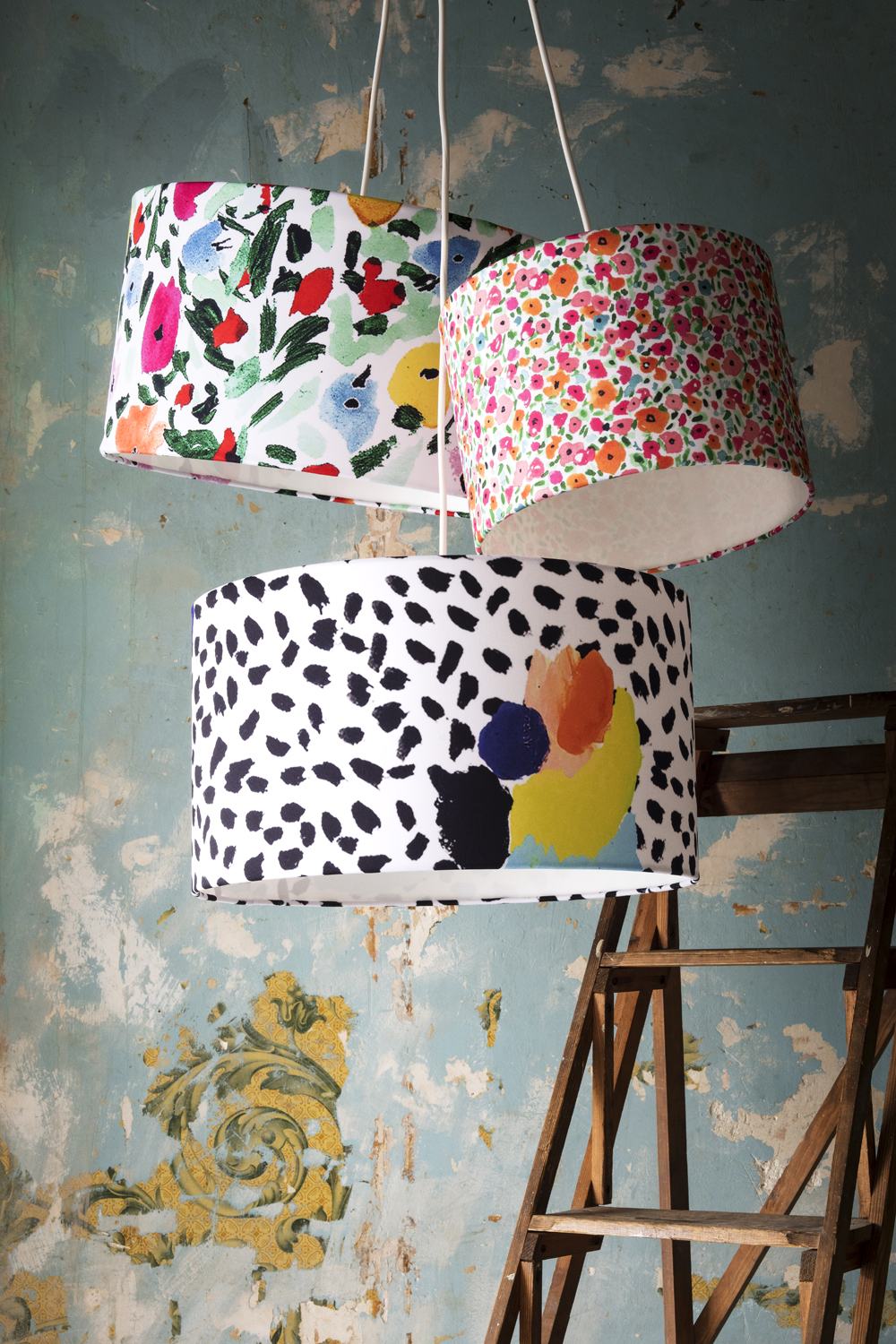 Garden 5, Watercolor Floral and Tropical Abstract Lampshades by Kendra Dandy