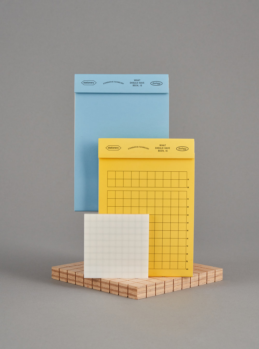 Editor's Memo Pads, Plain (Blue) and Gridded (Yellow), £9 each and Translucent Sticky Notes, gridded, £8 each