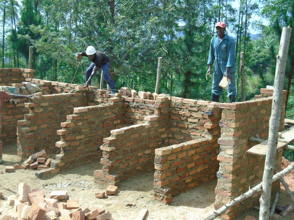 Constructing latrine block at Karuzigye PS.jpg