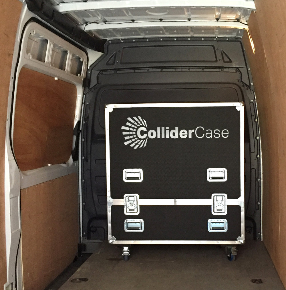 Bespoke wheeled flight cases provide robust protection and easy transportation for a touring ColliderCase.