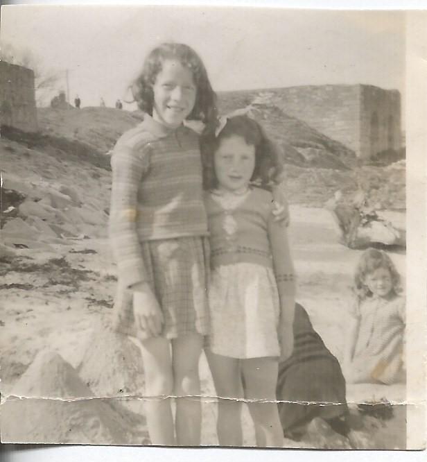 Mum and Aunt Joyce on Ballywalter Beach, late 1940s.