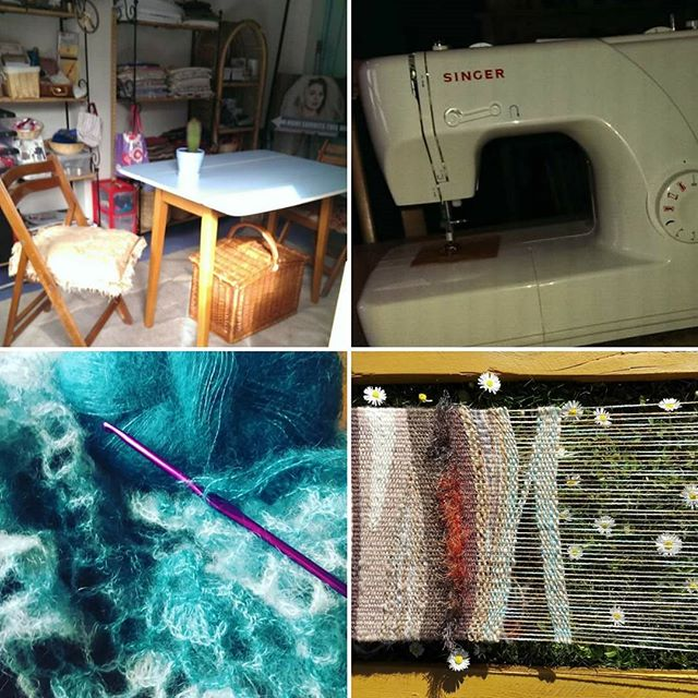 #marchmeetthemaker Days 3 and 4 - workplace and tools. My 1950s blue Formica table is my workstation. Just some of the tools I can't do without - my sewing machines, crochet hooks and weaving frame. #march #meetthemaker #northernireland #Bangor #countydown