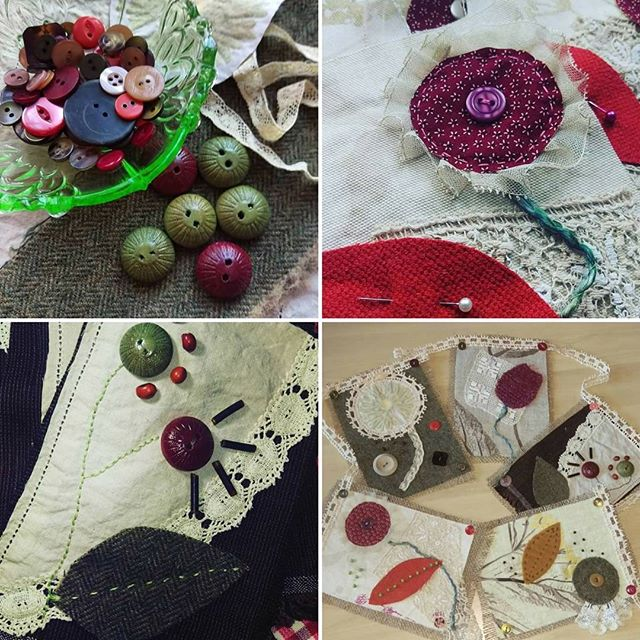 #marchmeetthemaker Days 5 & 6 - Raw Materials and How It's Made: I love to work with vintage linens, lace and buttons using hand stitching and embroidery to create textile art inspired by nature. #march  #meetthemaker #vintagelinenandlace #vintagebuttons #embroidery #textileart #handstitching #northernireland #Bangor #countydown