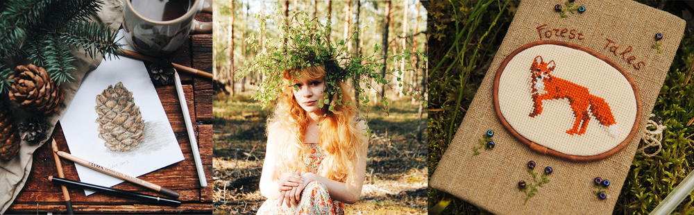 Here's Ellen and some of her many woodland creations... (All photos in this post are by/belong to Ellen.)