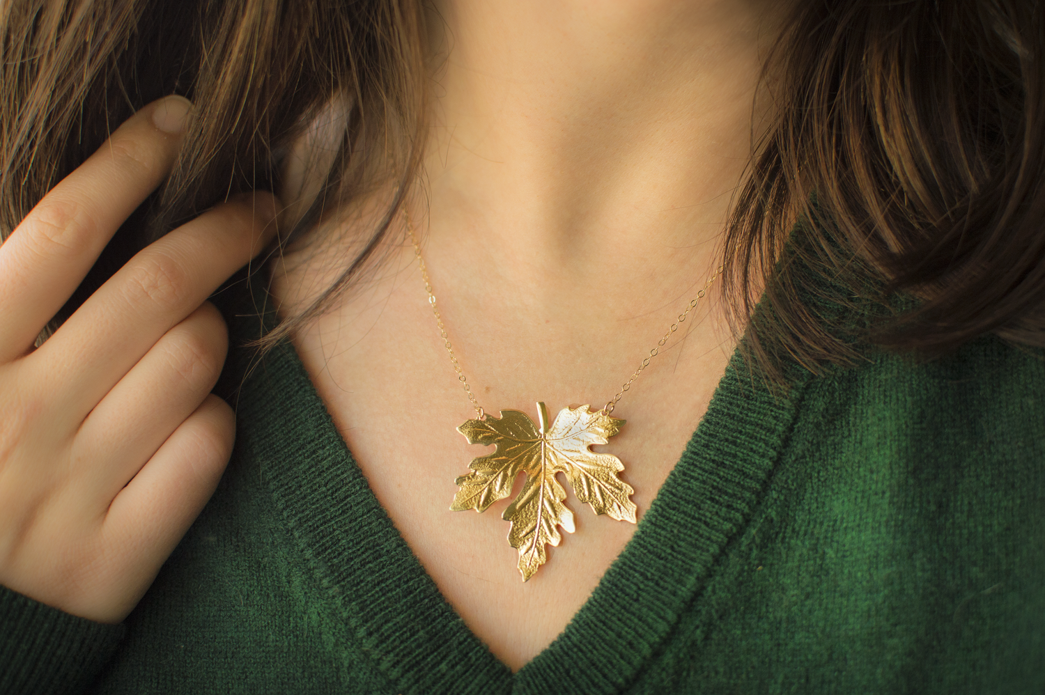 lotus gold leaf products maple gm necklace