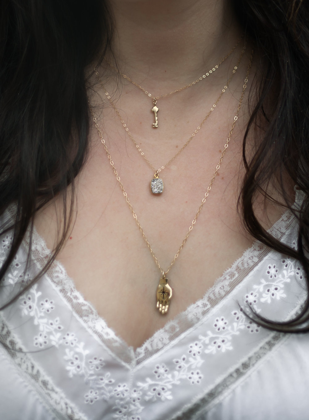 Carissa, in a trio of necklaces. - My friend Carissa came over this February afternoon to model the Handful of Magic, Druzy & Tiny Key Necklaces, plus some magical earrings! Loved layering all of these…