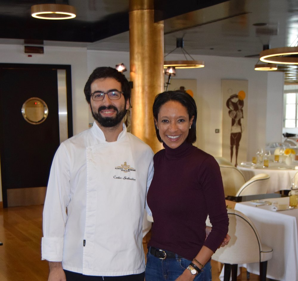 Sheree M. Mitchell at Restauran Narcissus Fernandesii with Master chef Carlos Galhardas