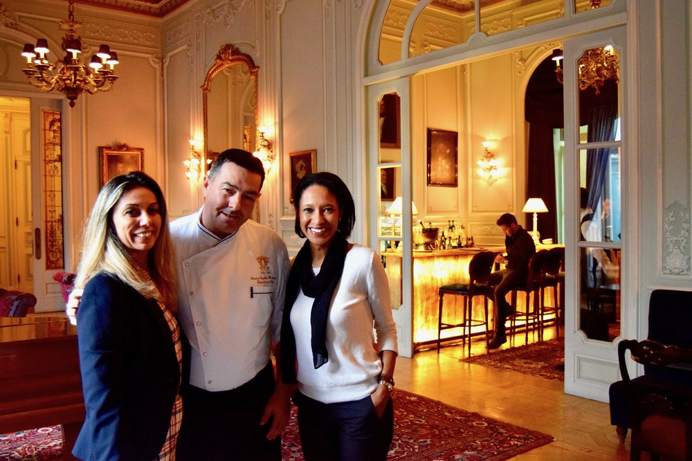 Sheree M. Mitchell at pestana palace with chef pedro marques and monica soares
