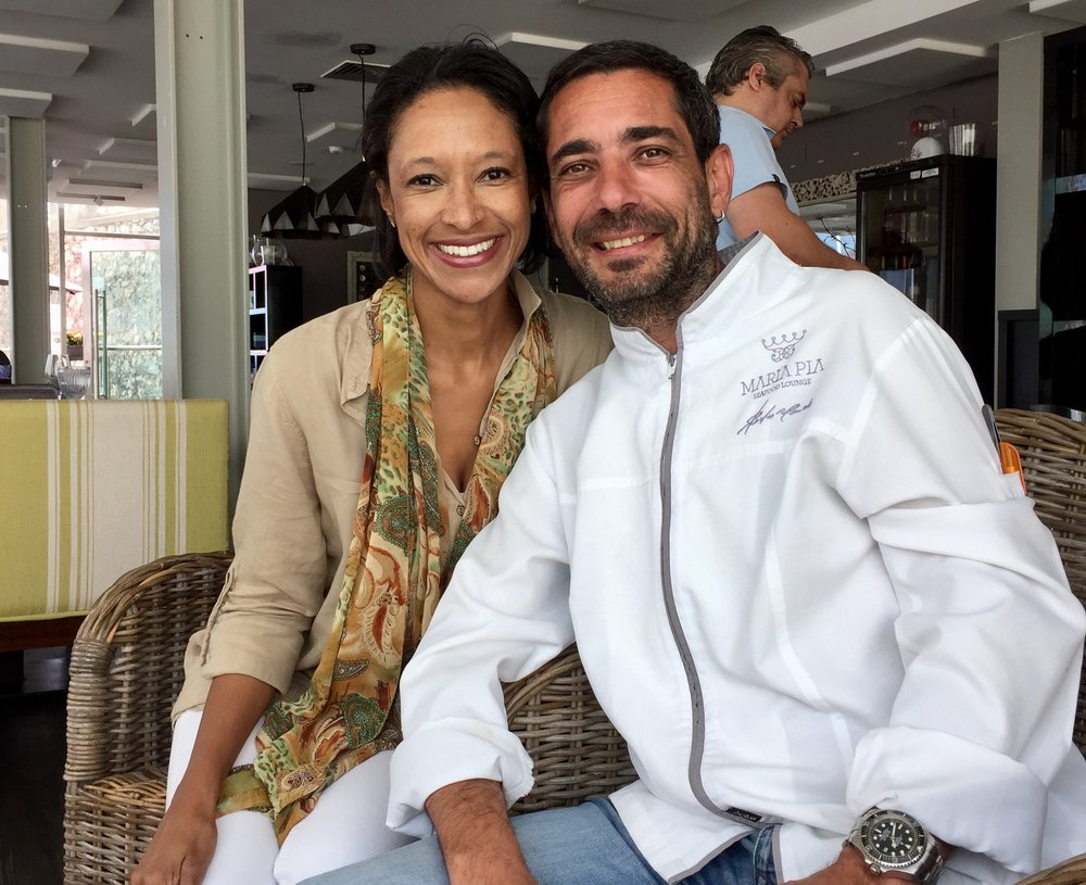 Sheree m. mitchell with chef pedro mendes of maria pia in cascais