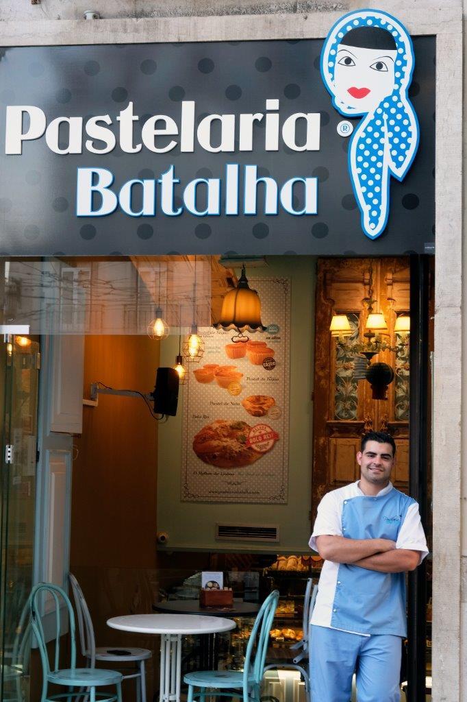 Award-winning pastry chef João Batalha standing in front of    Pastelaria Batalha   in Lisbon, Portugal. Photographer:    Paulo Petronilho