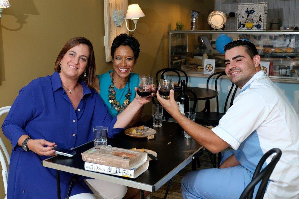 Ana Nogueira (L), Sheree M. Mitchell (C) with Chef João Batalha (R) in    Pastelaria Batalha   , Lisbon, Portugal. Photographer:    Paulo Petronilho