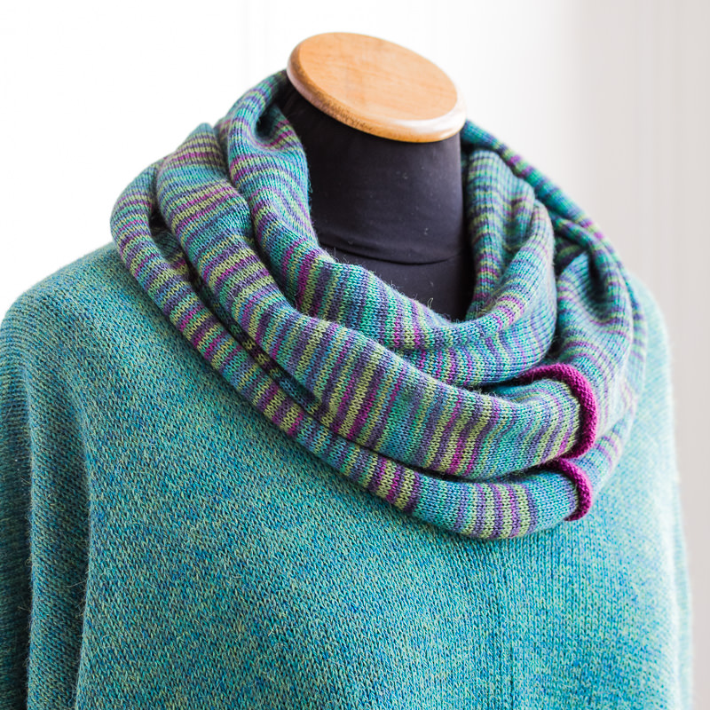 Alpaca and silk cowl by Fine Fettle Fibres. Photo by Emma George.