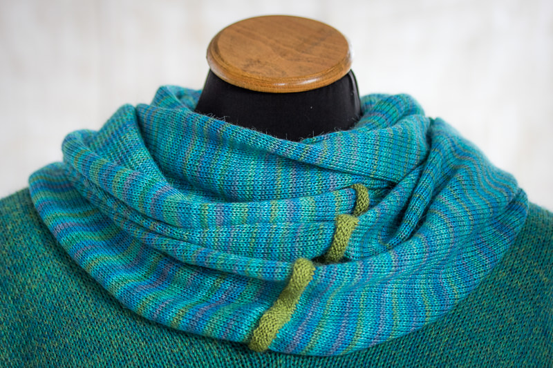 Blue-Green Alpaca and Silk Cowl designed and made by Fine Fettle Fibres