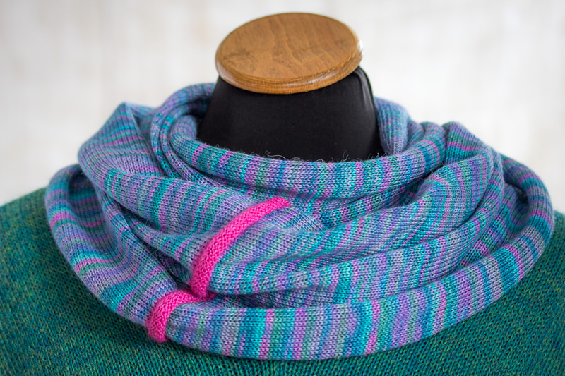 Pink-Blue Alpaca & Silk Cowl - Designed & Made by Fine Fettle Fibres