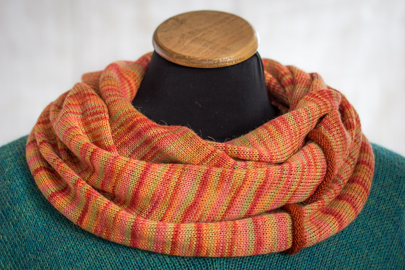 Orange Alpaca and Silk Cowl designed and made by Fine Fettle Fibres