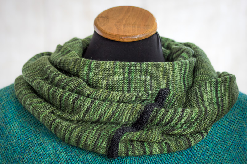 Green Alpaca and Silk Cowl designed and made by Fine Fettle Fibres