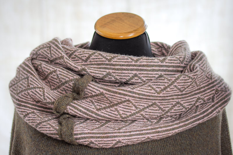 Pale Pink/Grey Felted Yak Cowl - Designed & made by Fine Fettle Fibres