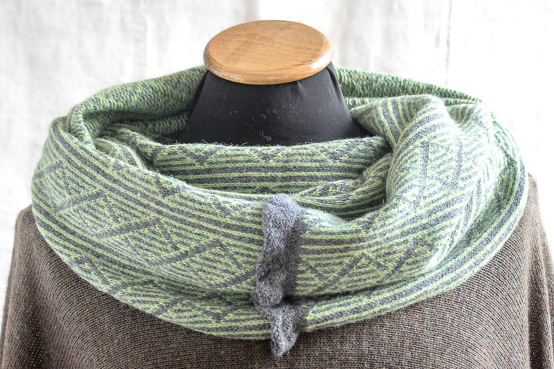 Pale Green/Grey Felted Yak Cowl - Designed & made by Fine Fettle Fibres