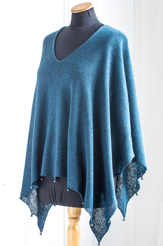 Beaded Edge Lightweight Yak Poncho - Designed & made by Fine Fettle Fibres