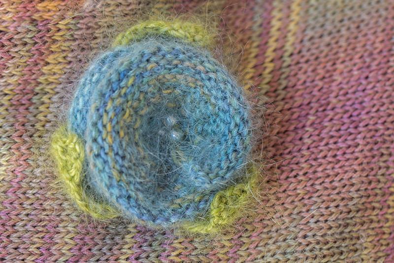 Mohair & Silk Lapel Flower in various lovely colours - Designed & made by Fine Fettle Fibres