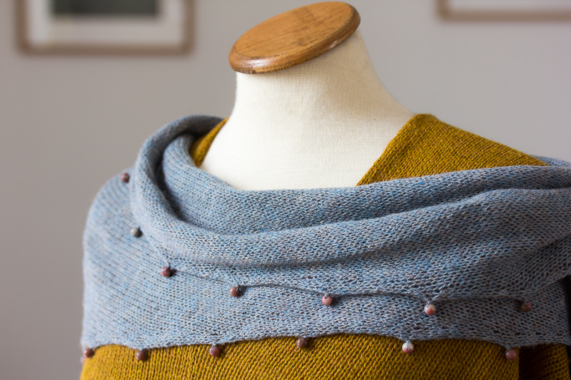 Beaded Silk & Alpaca Scarf - Designed & made by Fine Fettle Fibres