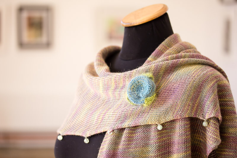 Beaded Silk & Alpaca Scarf with Mohair Lapel Flower - Designed & made by Fine Fettle Fibres