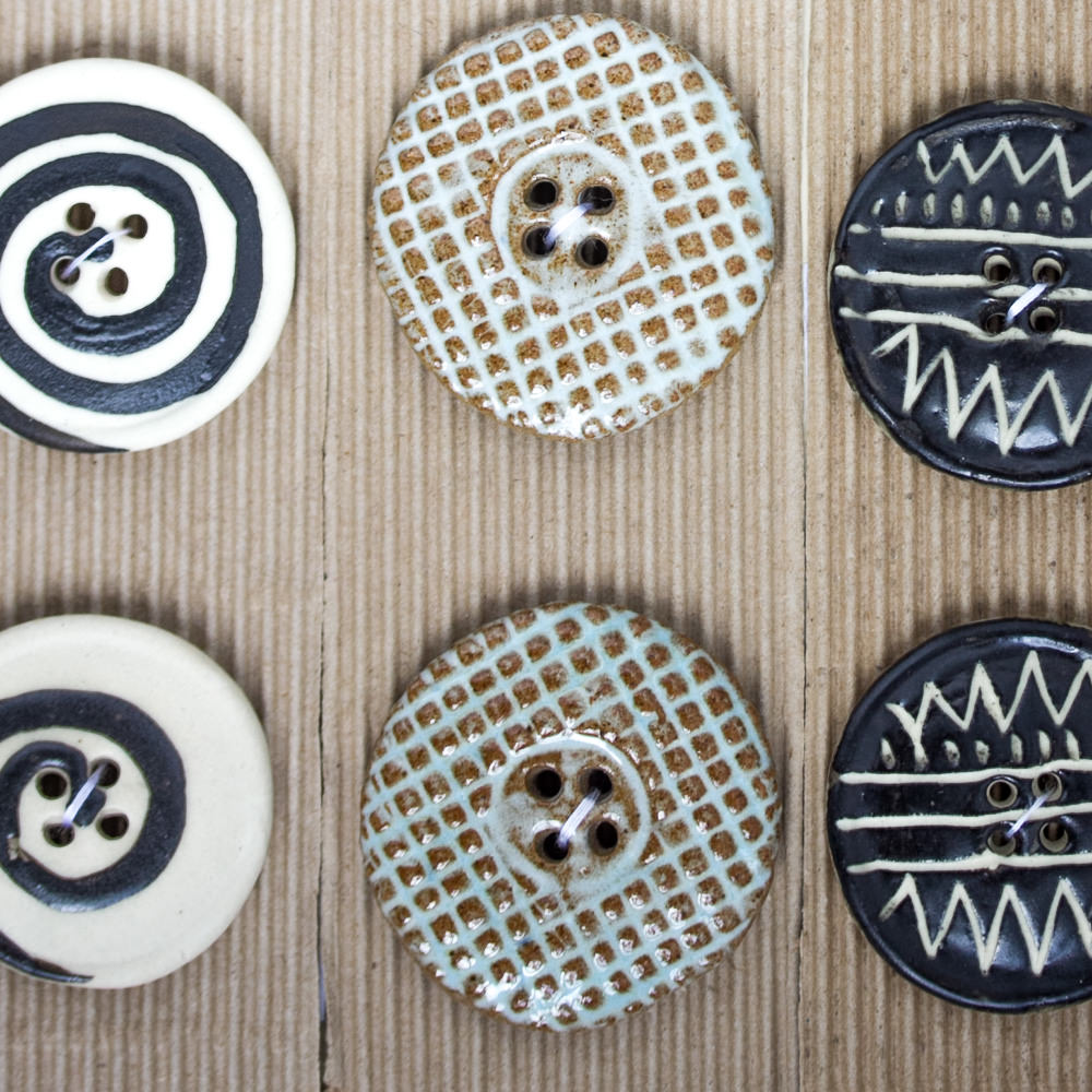 Fair Trade Ceramic Buttons available from Fine Fettle Fibres in Northumberland