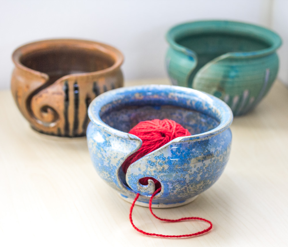 Handmade ceramic yarn bowls made by Alex Chylak - Available from Fine Fettle Fibres in Northumberland