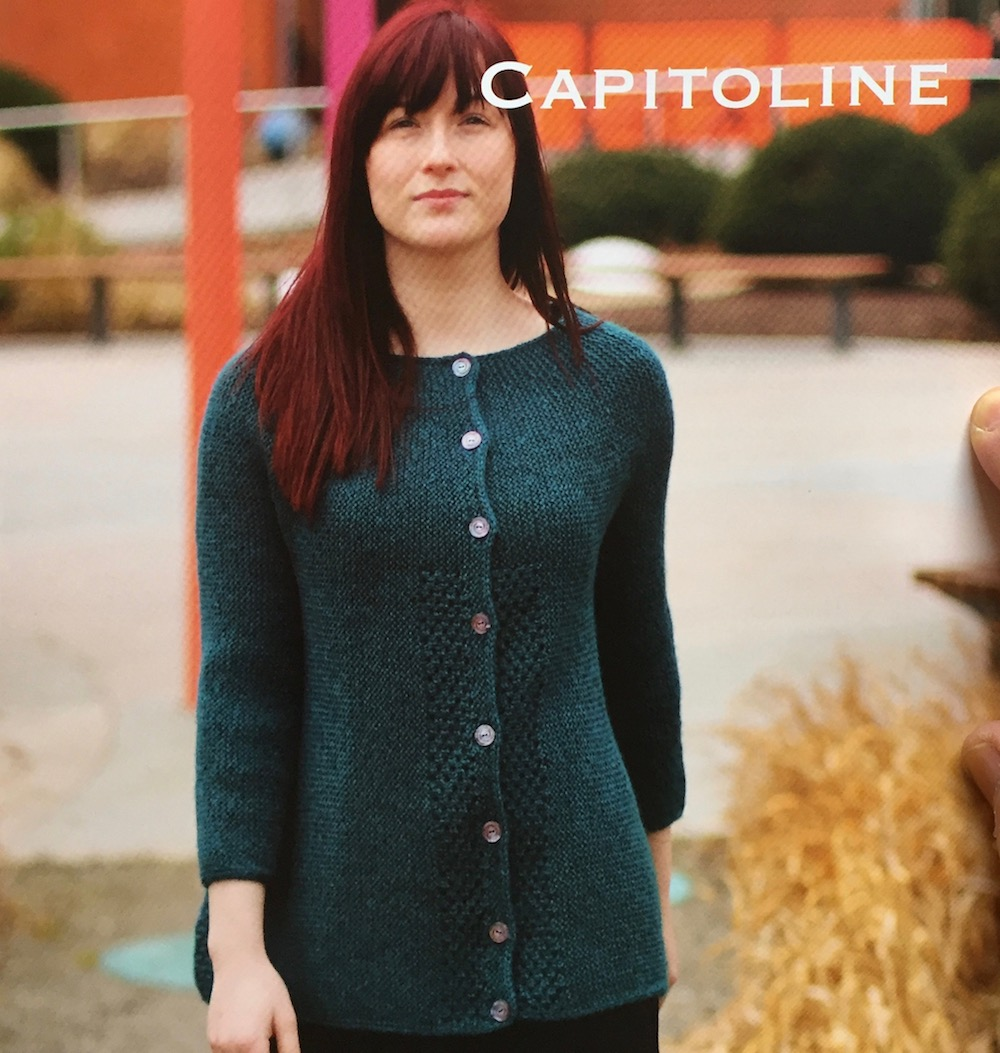 "Capitoline  This cardigan is knitted in garter stitch from side-to-side. Short rows smoothly shape the yoke and short rows in lace along the sides create a gentle a-line swing to the cardigan.   Yarn:  Baa Ram Ewe Dovestone DK (252yds / 230m per 100g)  Yarn Quantities:  1200 - 2200 yards (1097 - 2012 m)   Needles:  4 mm x 80 cm circular needles  and 4 mm straight needles  Notions:  stitch holder, stitch markers, 8 x 20mm buttons  Sizes:  To Fit Actual Bust Circumference up to: 33 (36.5, 41.5, 45, 49, 54.25)"" / 84 (92.5, 105.5, 114.5, 124.5, 138) cm.  Finished measurements: Bust Circumference: 34 (37.5, 42.5, 46, 50, 55.25)"" / 86.5 (95.5, 108, 117, 127, 140.5) cm buttoned. Length: 22.5 (23, 23.5, 24, 24.25, 25.25)"" / 57 (58.5, 59.5, 61, 61.5, 64) cm."