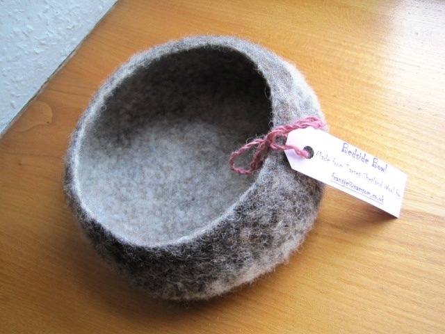 One of Fransje's beautiful felted bowls made with fleece from her flock
