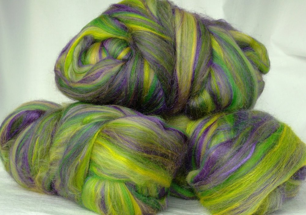 ... The Iris - merino and silk blend fibre ready for spinning.