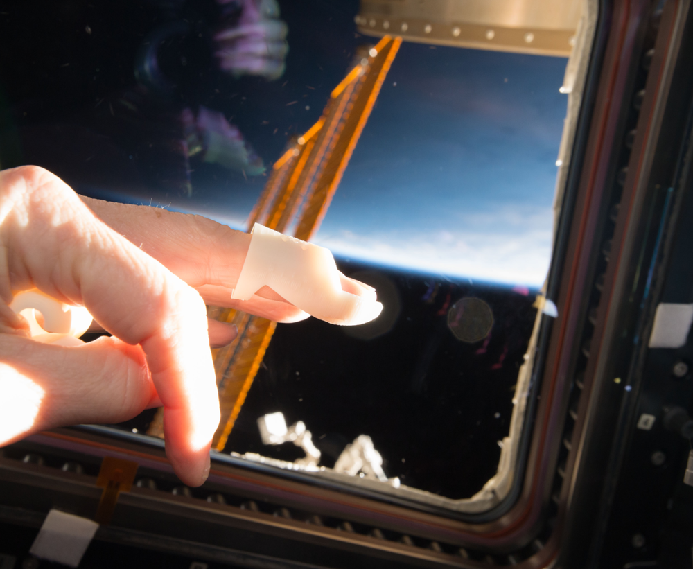 Finger Splint printed on Made In Space's Additive Manufacturing Facility (AMF) on board the International Space Station (ISS)
