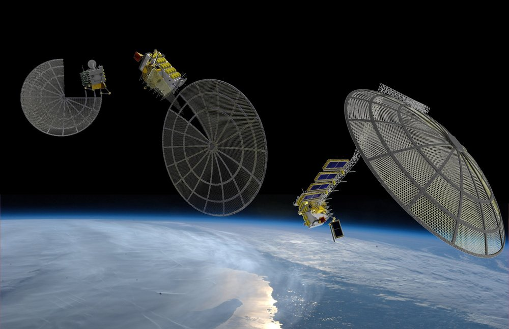 3-stage illustration of Archinaut assembling a satellite platform much larger than itself