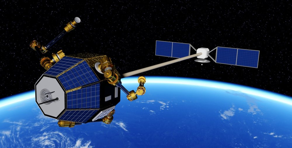Illustration of Archinaut robotically assembling an Archinaut-made extended structure to an existing satellite on orbit.