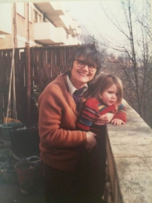 Granny on her balcony in Parliament Hill with my little sister 1981.