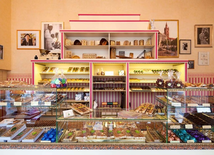 Wald's candy striped marzipan shop in Berlin.