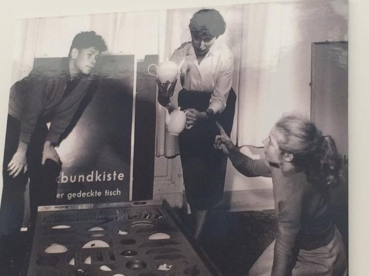 Students in the 1950s being shown the Werkbund essential homeware kits.