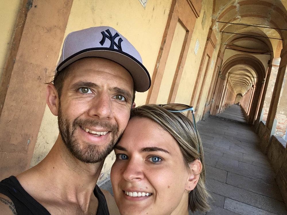 A very hot walk along under the Bologna porticos