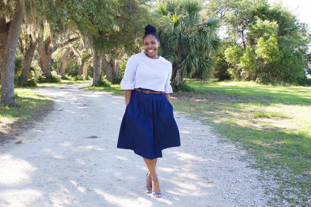 Denim Pleated Skirt