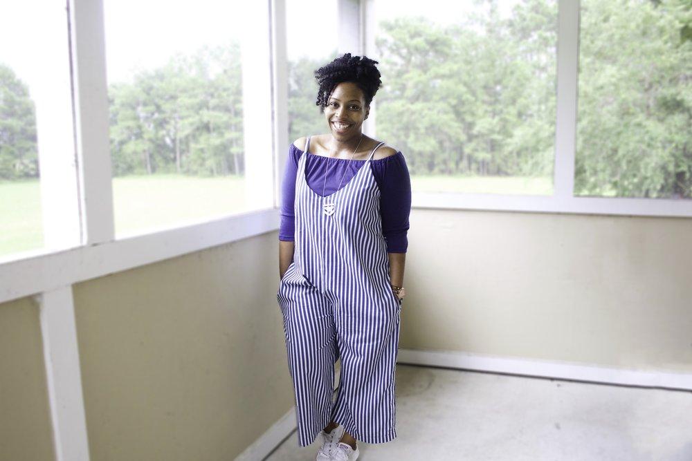 Striped Denim Jumpsuit