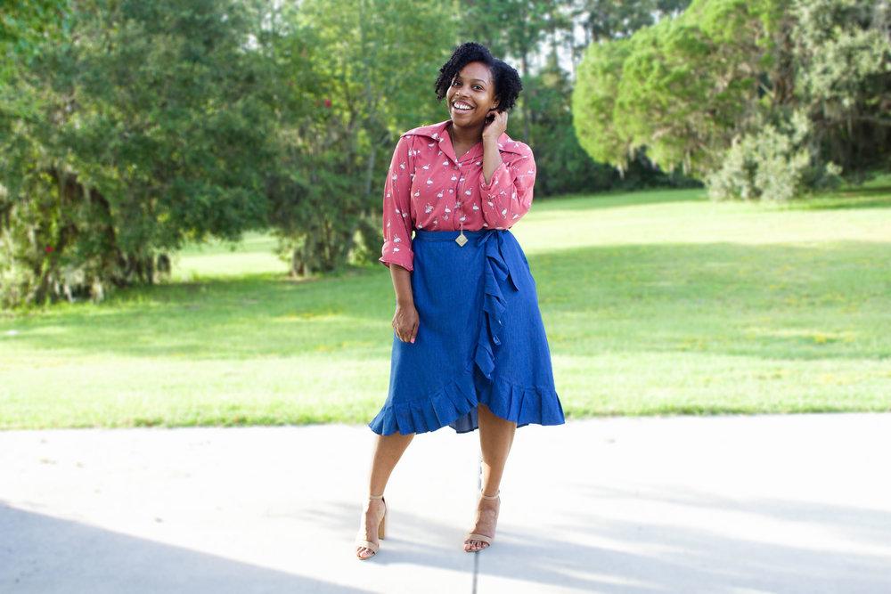 Denim Pleated Wrap Skirt & Flamingo Top