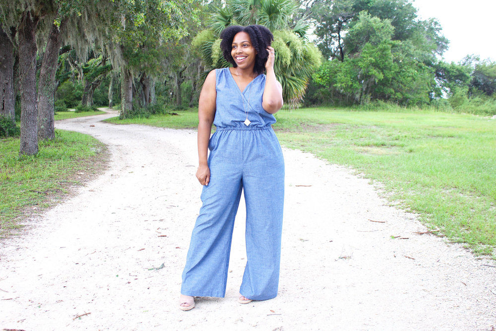 Chambray Wide Leg Jumpsuit